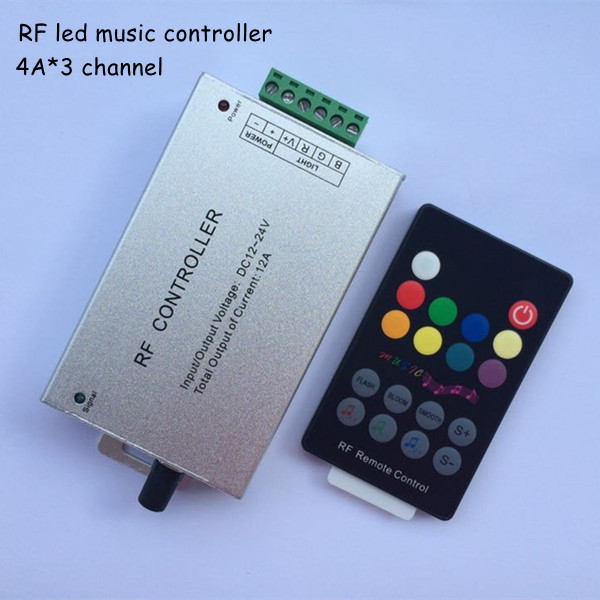 1pcs 18 key DC12V 24V Audio sound 3 channel*4A 12A rf 433.92mhz wireless remote rgb led music controller to control strip light(China (Mainland))