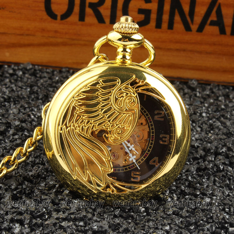 New Luxury Jewelry FOB Chain Mechanical Pocket Watch Automatic Skeleton Necklace Men Unisex P380-83<br><br>Aliexpress