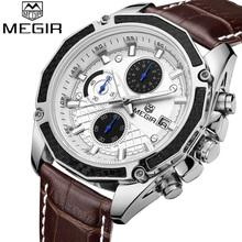 MEGIR Watch Men Chronograph Date Luminous Quartz-Watch Mens Watches Top Brand Luxury Sport Leather Wristwatch relogio masculino(China (Mainland))