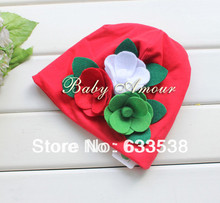 Retail Hot Fashion Baby Christmas Hat With Flowers For Autumn Winter Kids Caps Beanies Hat Toddler
