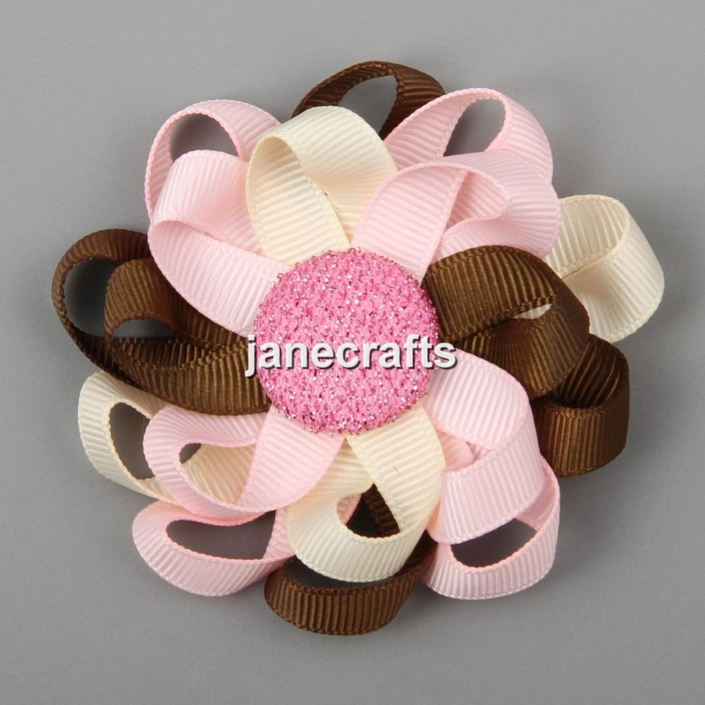 Hair Accessories Loop -  11pcs 3 flower loop mixed 11 color hair bow cute girls hair bow grosgrain ribbon