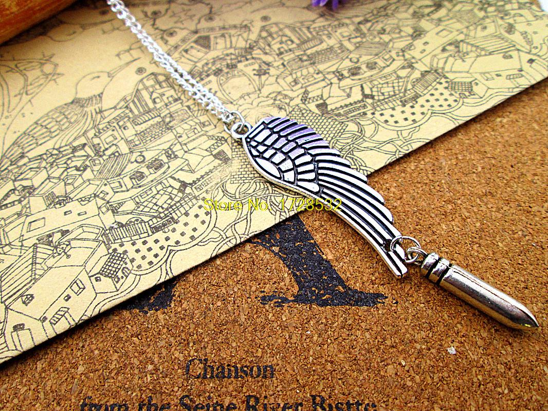 12pcs/lot fashion 48*15mm antique silver Angel wing Charm big wing with24*5mm 3D Bullet pendant necklace(China (Mainland))