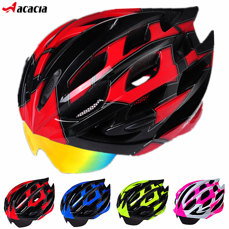2015 High-Grade Bicycle Helmet+Eyewear Ultralight Road Cycling Safety Helmet Mountain Bike Helmet Glasses With 3 Lenses 5 Colors(China (Mainland))