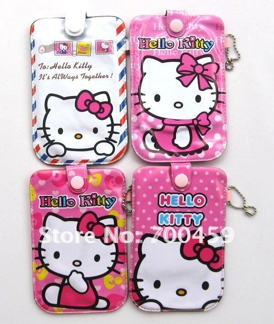 Free shipping 12pcs hello kitty purse cell phone pouches  covers case G4