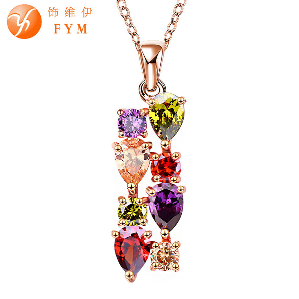 Casi Fashion Womens Luxury Colorful Genuine AAA Cubic Zirconia Stone Wedding Necklace Gold Plated Gifts Jewelry for Women Bride(China (Mainland))