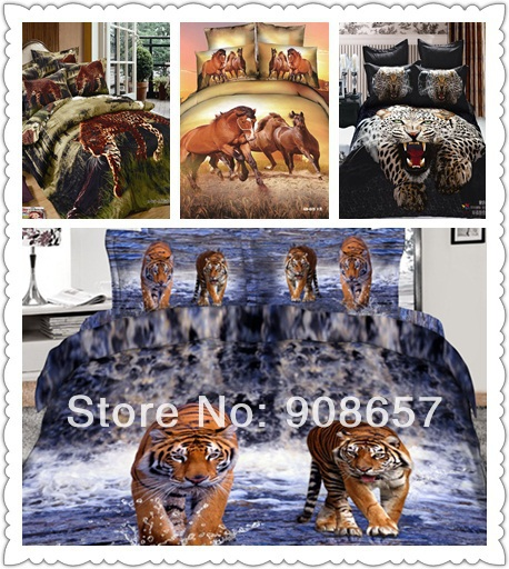 leopard horse tiger animal printed 2014 luxury 3D bedding set full/queen size duvet quilt covers cotton men's home textile 7 pcs(China (Mainland))
