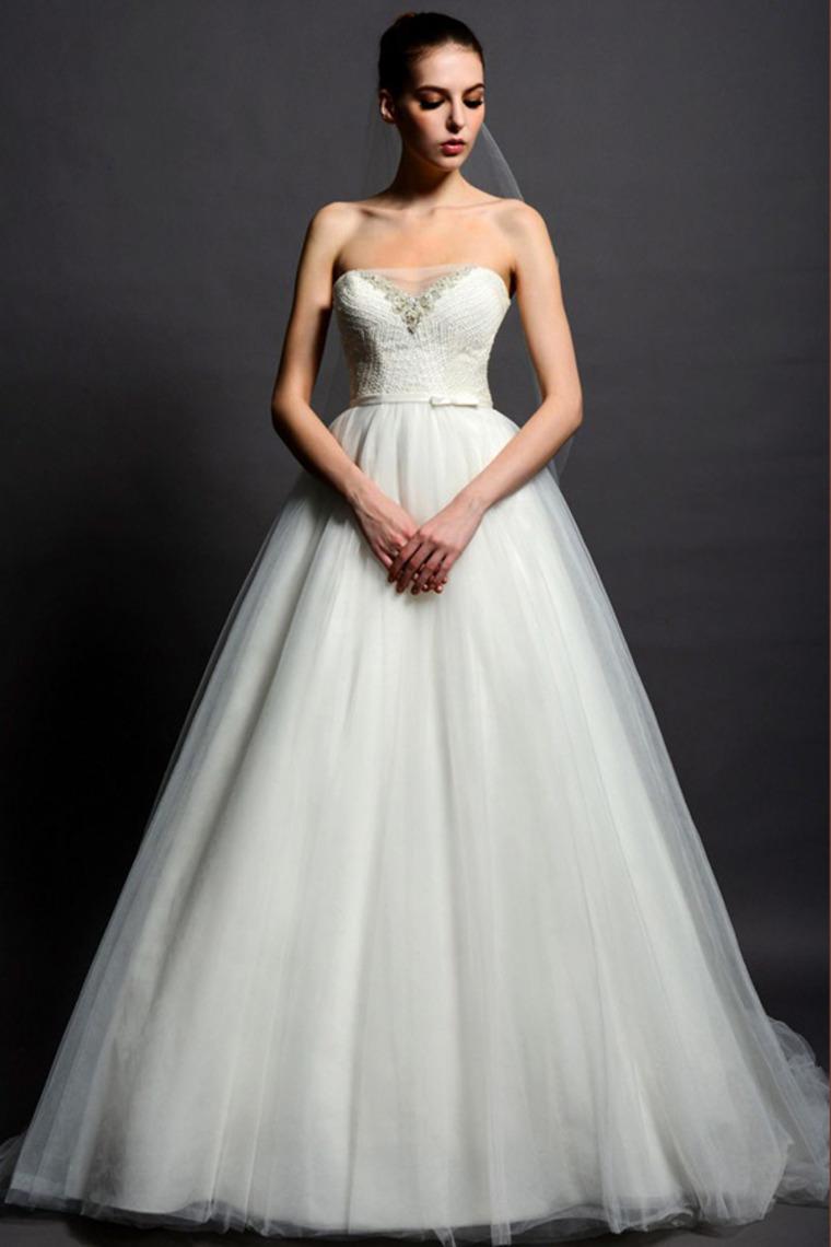 Модная Тюль Из Бисера Свадебные Платья A-Line Свадебные Платья Без Бретелек Длинные Свадебные Платья 2016 Vestido Де Noiva