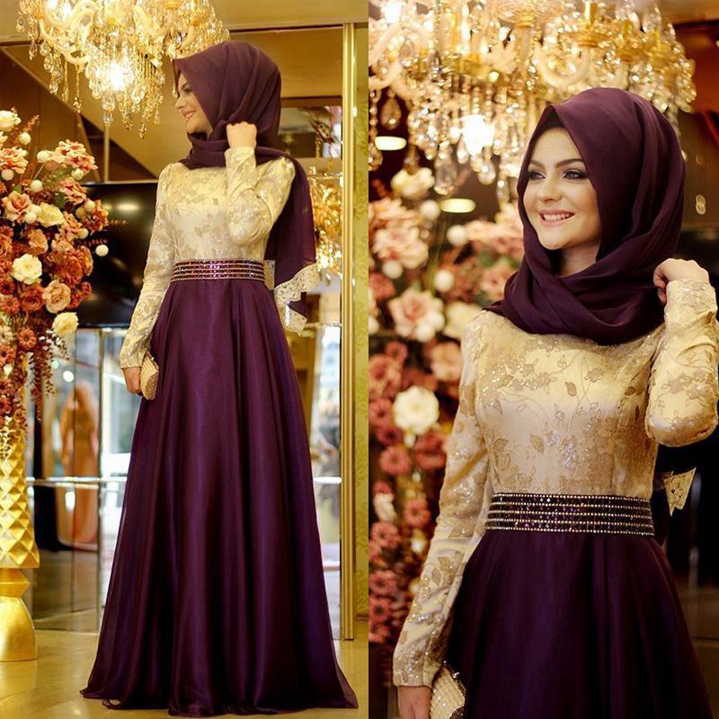 Великолепная Мусульманское Вечернее Платье С Длинным Рукавом Хиджаб Исламские Вечерние Платья Вечерние Длина Пола