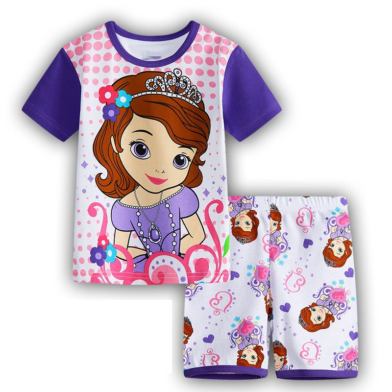 2016 new children's clothing Home Furnishing Princess Sophia cotton summer suit air conditioning suit pajamas cartoon A21(China (Mainland))