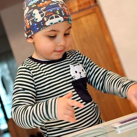 Male female child small children's clothing basic shirt horizontal stripe cotton 100% cotton long-sleeve round neck T-shirt dark