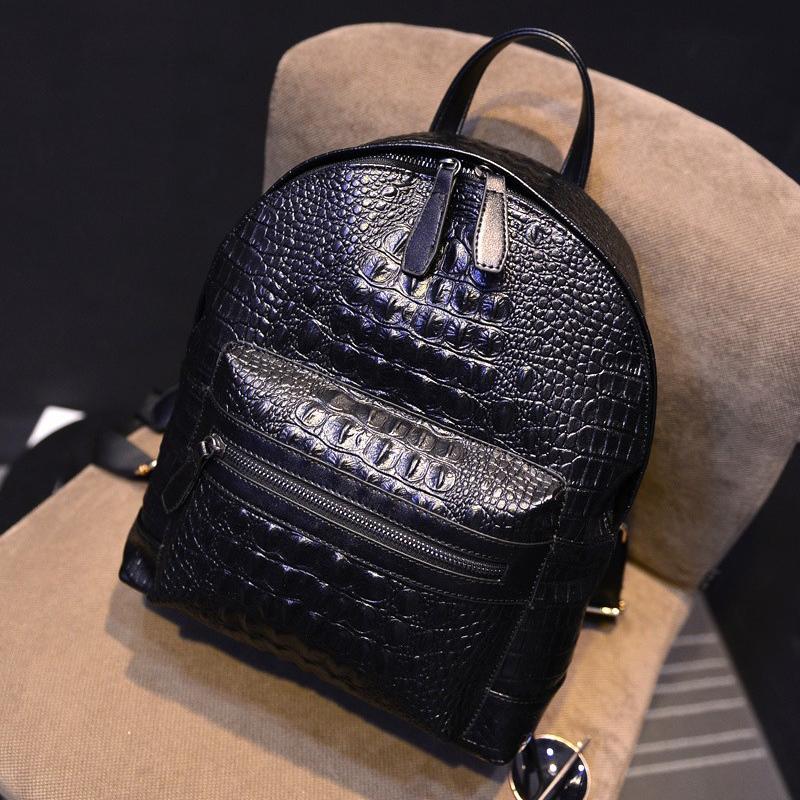 2015 hot crocodile pu leather women backpack korean style fashion women back bag black backpack school bags for teenage girls(China (Mainland))