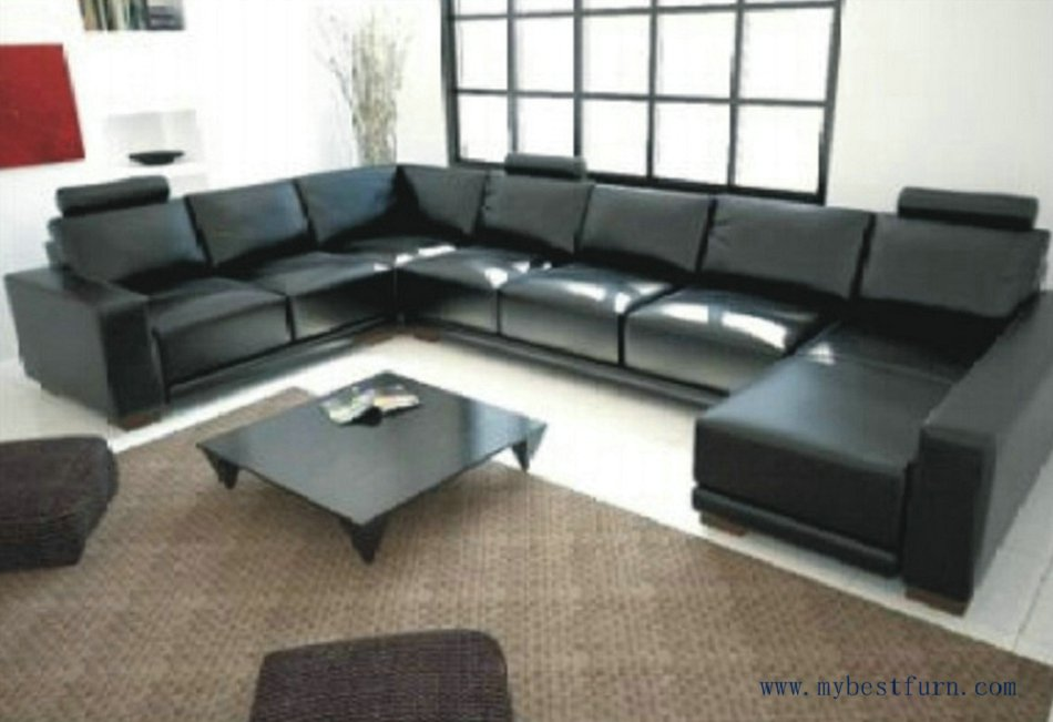 Free Shipping Large U Shaped, cofortable high quality living room furniture  sofa set S8559( - High Quality Leather Wood Sofa Set-Buy Cheap Leather Wood Sofa Set