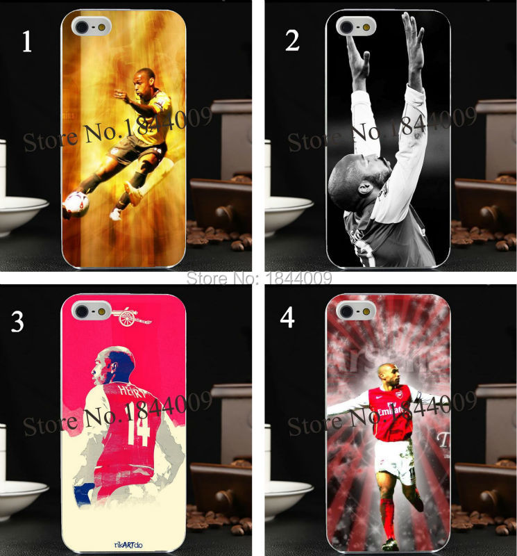 new henry legend Arsenal Henry of Premier League football Style Hard Skin Transparent Cover Case for iphone 5 5s 4 4S 5c(China (Mainland))