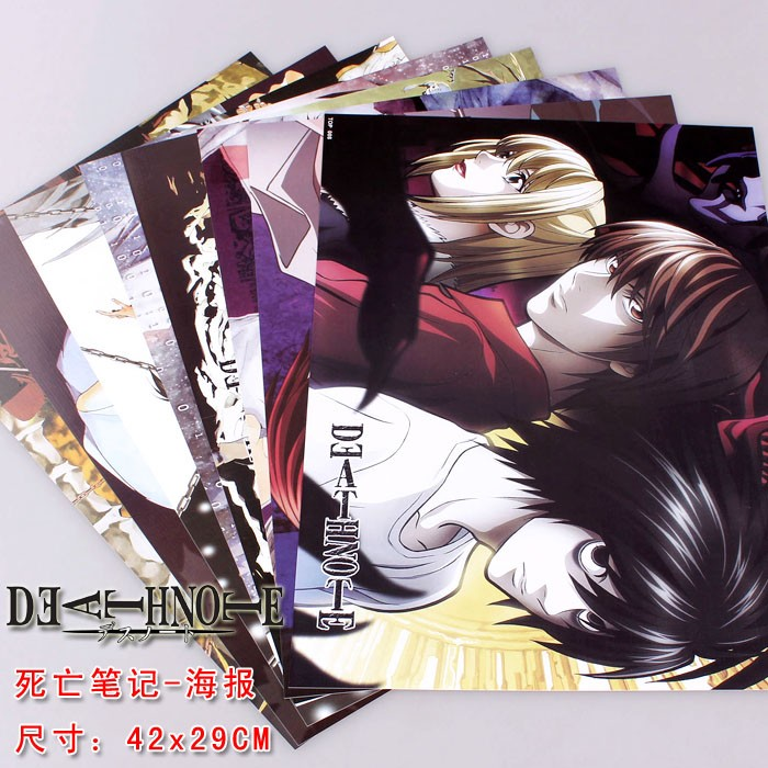 8 pcs Anime posters Death Note set L Lawlie Yagami Light figures poster 42x29cm for wall free shipping(China (Mainland))