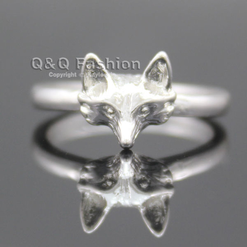 Silver 3D Foxy Head Wild Animal Band Finger Ring Gift Goth Punk Fancy Dress Jewelry Free Shipping(China (Mainland))