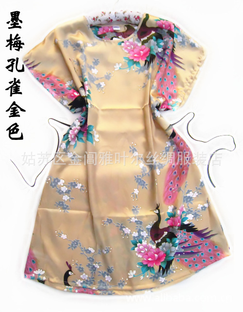 New Arrival Gold Chinese Women's Silk Rayon Robe Bath Gown One Size Flower Free Shipping(China (Mainland))
