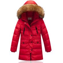 7-16 Year girls Nagymaros collar outwear coat 2015 Russia winter Children long sections duck down jacket kids girls fur parkas