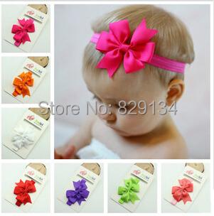 New Design Headband With Ribbon Bow Baby Elastic Headband Bow Hair Band Hair Accessory 100 pieces/lot CN-1407161()