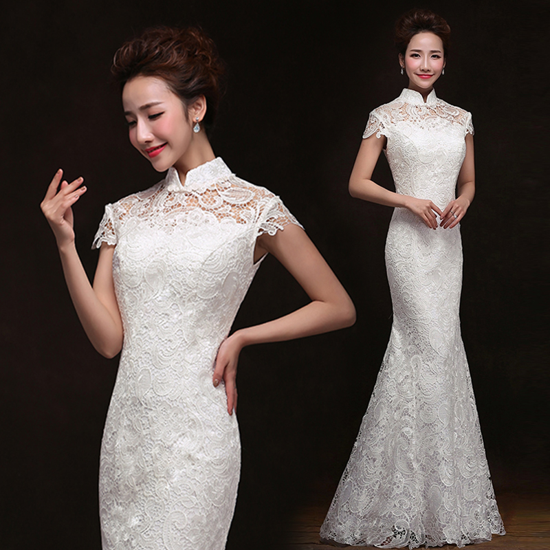 Real photo cheap price white long chinese style wedding for Chinese wedding dresses online