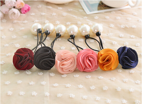 Colorful Rose flower Pearl elastic Headband Hair rubber for Women hair Accessories Hair Ornaments Free Shipping(China (Mainland))