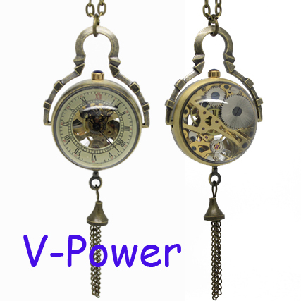 Brass Glass Ball Mechanical Pocket Watch Necklace Chain PW017(China (Mainland))