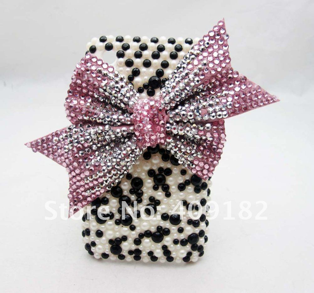 Bling Shiny Fashion Designer Pink Bow White & Black Pearl Hard Back Cover Case for iPhone 3G 3GS(China (Mainland))