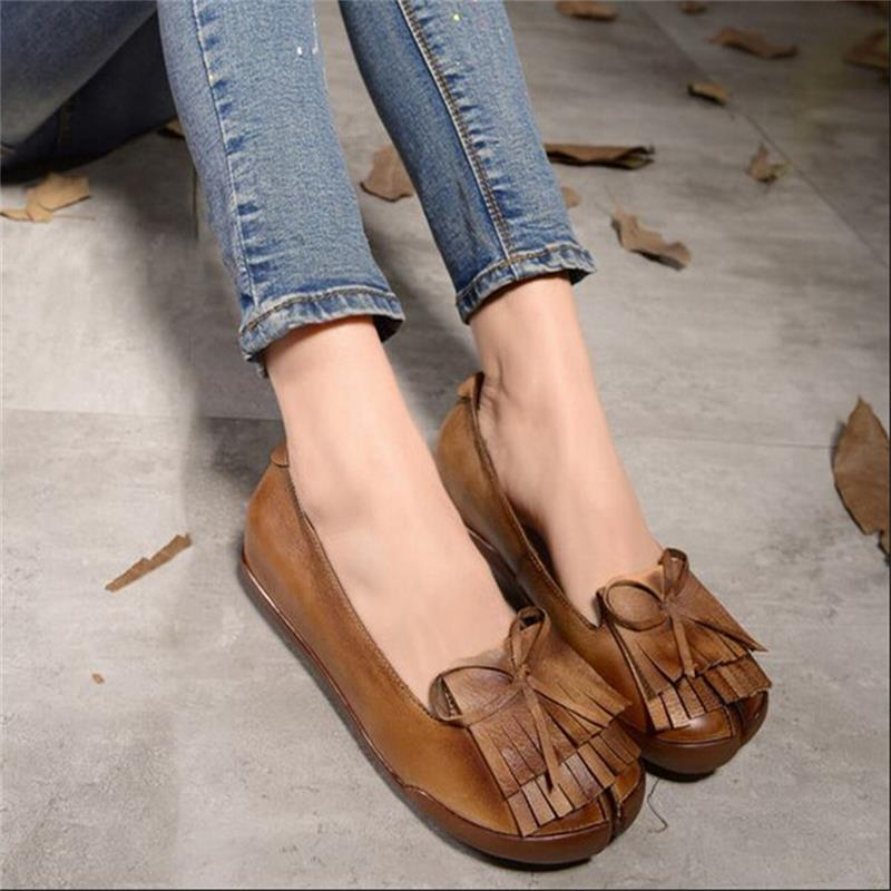 2016 New vintage genuine leather shoes handmade women shoes reminisced tassel women flats casual low heels shoes <br><br>Aliexpress