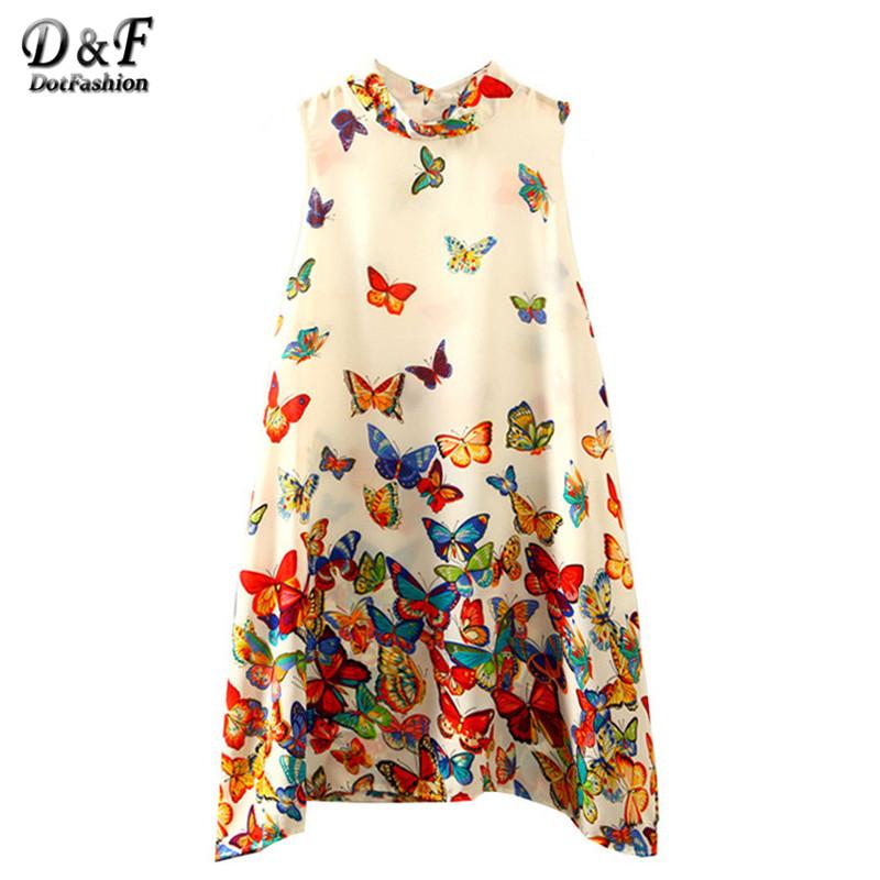 Dotfashion Multicolor Butterfly Print Short Swing Dresses Women Summer New Style Mini Round Neck Sleeveless Dress(China (Mainland))