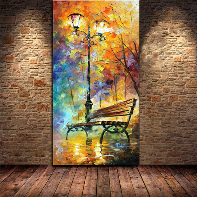 Large handpainted abstract modern wall painting rain tree road ...