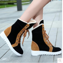Niñas botas de nieve botas de encaje con antideslizante de fondo grueso grueso warm winter botas de terciopelo grueso botas de felpa zapatos de algodón(China (Mainland))
