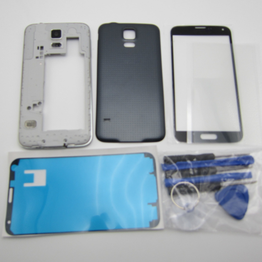 Full Housing Middle Frame Bezel Back Cover Case Chassis Samsung S5 SV G900F + Front Glass Lens Tools OCA glue - Cell Phone Repair store