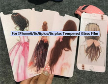 Fashion girl Screen Protector Tempered Glass Front+Back For iPhone5 5s 6 6s 6plus 6