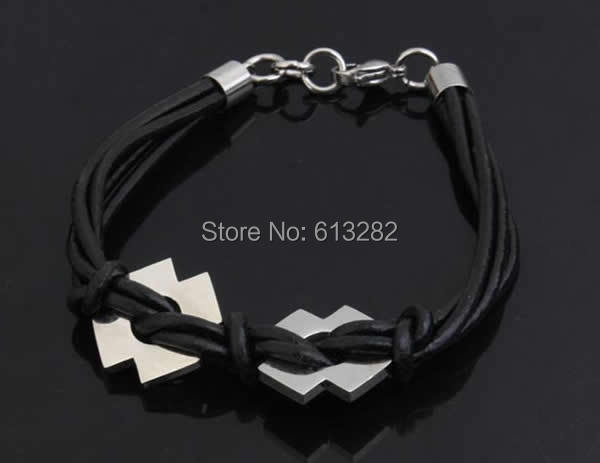 Free shipping!!!Cowhide Bracelet,Wedding Jewelry, 316L stainless steel lobster clasp, black, 7mm, 19x19mm, Length:Approx 8 Inch<br><br>Aliexpress