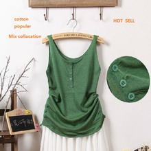 2016 summer solid women sleeveless knit crop tops  casual vest cotton woman cotton ruffle blouse tank top women loose tank tops(China (Mainland))