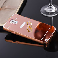 Luxury Mirror Acrylic Back Cover Case + LOGO Hole Gold Plating Metal Frame Phone Cover for Samsung Galaxy Note 3 mobile phone