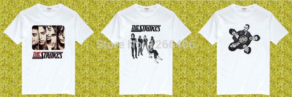 Free Shipping The Strokes Rock Music Band 100% Cotton O Neck Short Sleeve camisetas T Shirt, Unisex(China (Mainland))