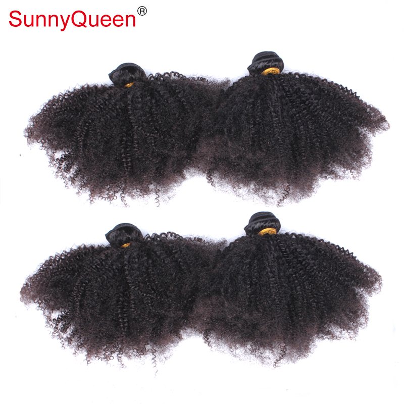 SunnyQueen hair products Afro Kinky Curly Unprocessed Brazilian Virgin Human Hair Extensions 4 Pcs/Lot Free Shipping 5A Stocks<br><br>Aliexpress