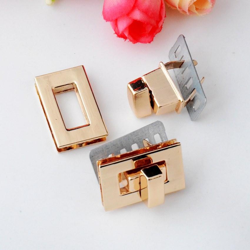 Free Shipping-5 Sets Purse Twist Turn Lock Golden Metal Hook Box Latches Clasp Bag Lock Trunk Purse Lock 26x16mm J2981(China (Mainland))