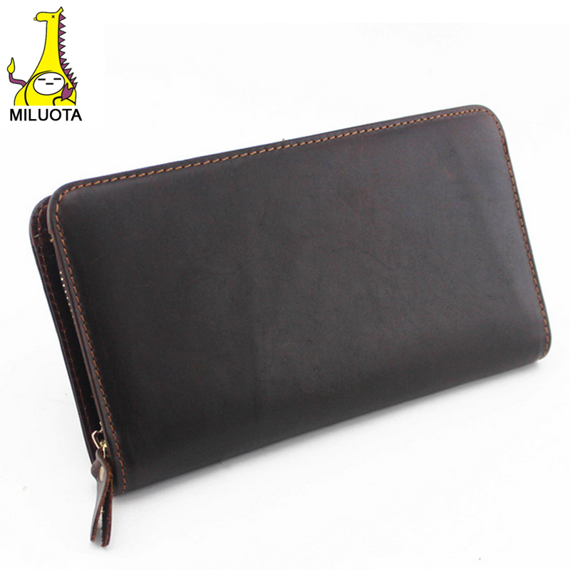 [MILUOTA] Men wallets High quality 100% Genuine leather wallets fashion solid long card holer designer purse carteira masculina<br><br>Aliexpress