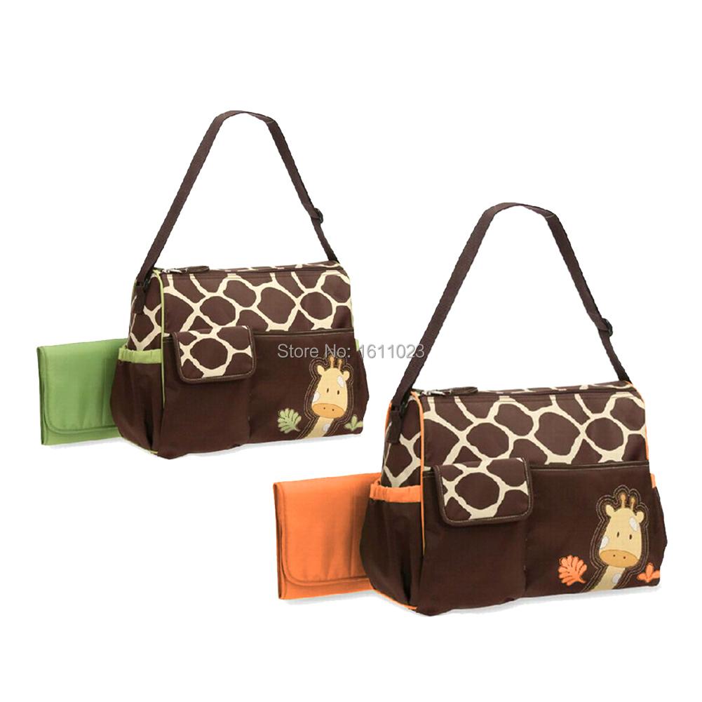 Multifunctional Baby Diaper Nappy Changing Bag Mummy Handbag Giraffe Pattern E2shopping(China (Mainland))