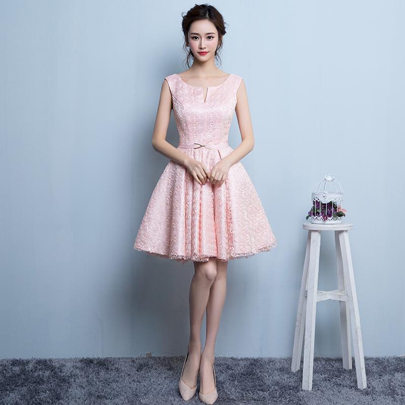 2016 O-neck Sleeveless Lace Short Bridesmaid Dresses Plus Size Pink(China (Mainland))