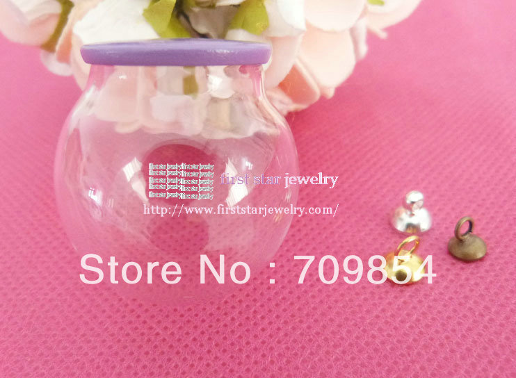 20*30mm handmake Glass Bottle wishing bottle+purple tray +(silver/bronze/ gold top connector you can choose color)/#gr