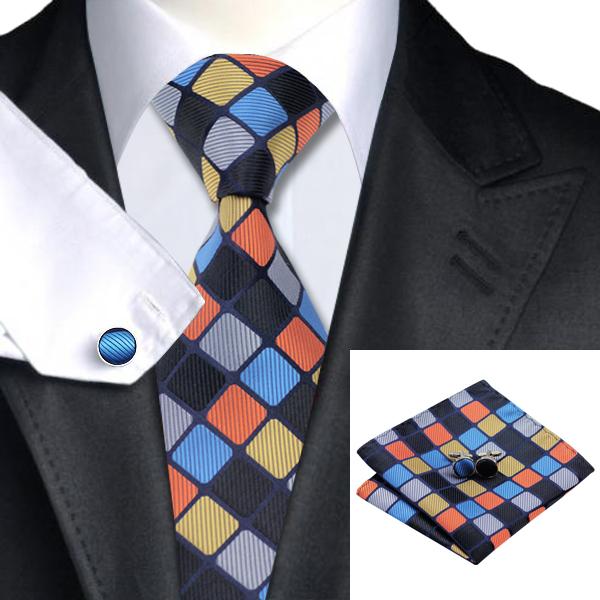 Fashion silk jacquard tie blue yellow orange plaid tie for Blue and yellow plaid dress shirt