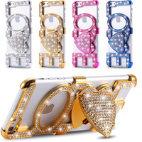 Top sale High Quality Stand Luxury Fashion Paste Diamond KISS LOVE Style housing cover case For Apple iphone 6 6S case 4.7inch