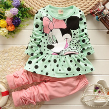 2016 new Minnie t-shirt + pants suit arrival Girls Clothing set 2pcs/set baby girls casual long-sleeved t-shirt dot leggings set(China (Mainland))