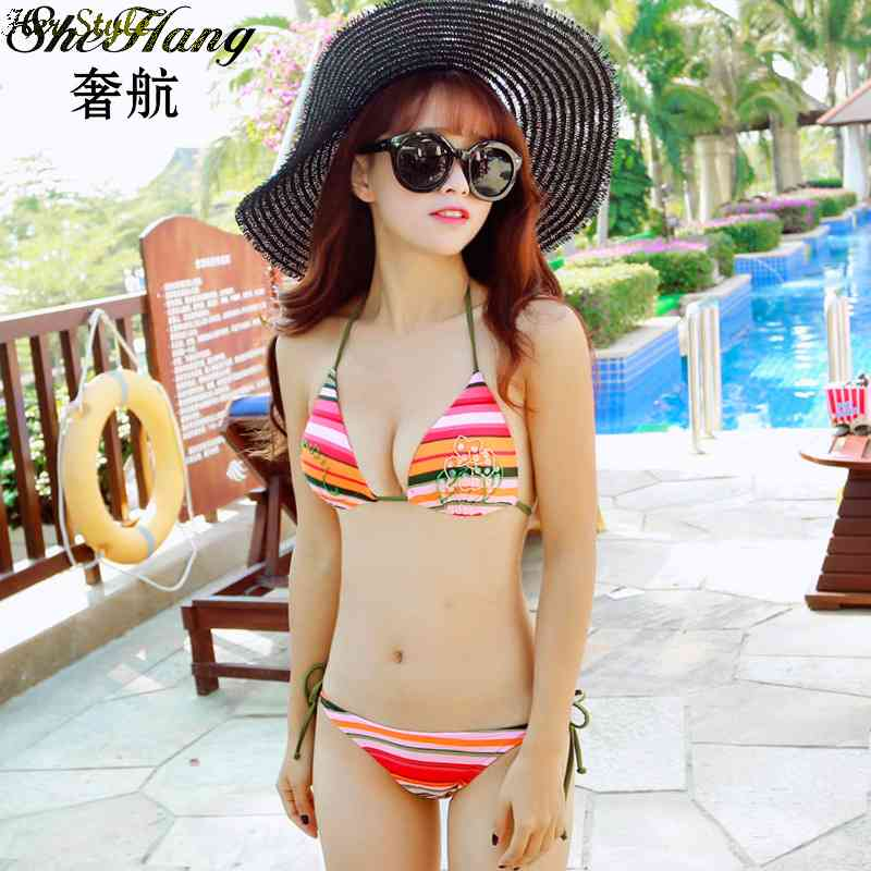 Free Shipping luxury airlines lure color stripes Cup bikini size chest gathered Maillot 1434366236 TanKini(China (Mainland))