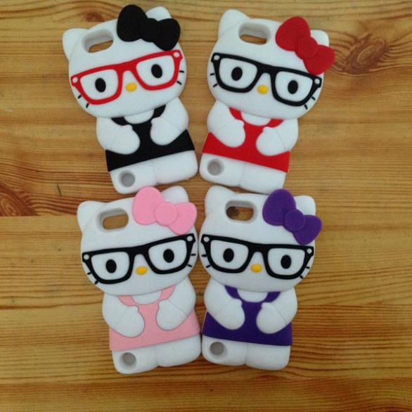 Free ship! 3D glasses Hello Kitty Silicone Soft Back Cover Case For Apple iPod Touch 5 5G(China (Mainland))