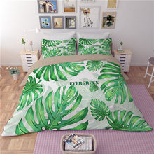 White Green leaves Bedding Sets Plant Twin Queen king Size Quilt/Duvet/Doona Cover Bed Sheet Pillowcase New Fashion Bedclothes(China)