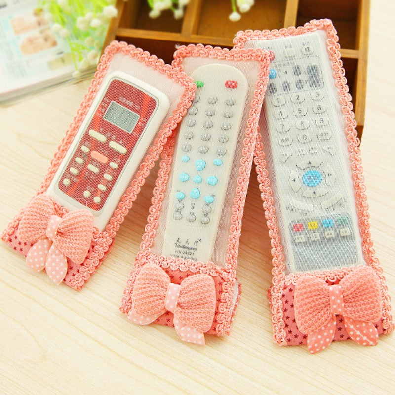 Winnie the lace fabric TV air conditioning remote control sets of protective cover dust bag bow(China (Mainland))