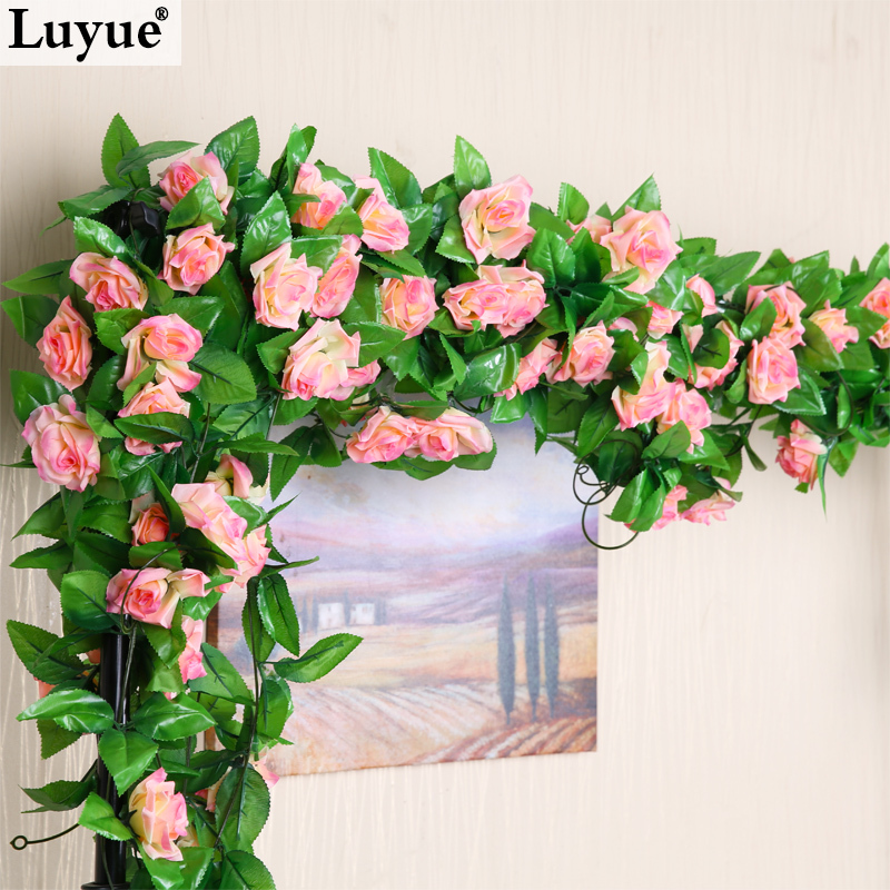 Wedding Decorations 2 3m Artificial Silk Rose Fake Flower Ivy Leaf